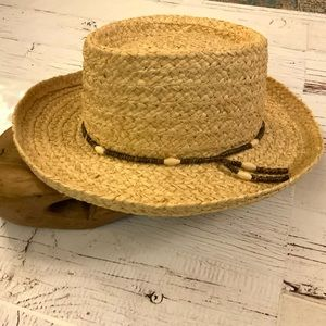 Summer club straw hat with bead detail